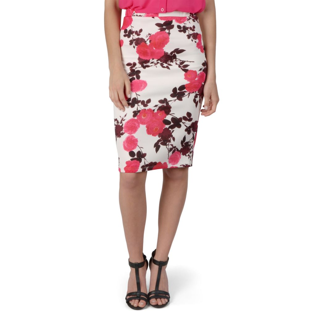 720-144 - Hailey Jeans Co. Junior's Printed Elastic Waist Pencil Skirt