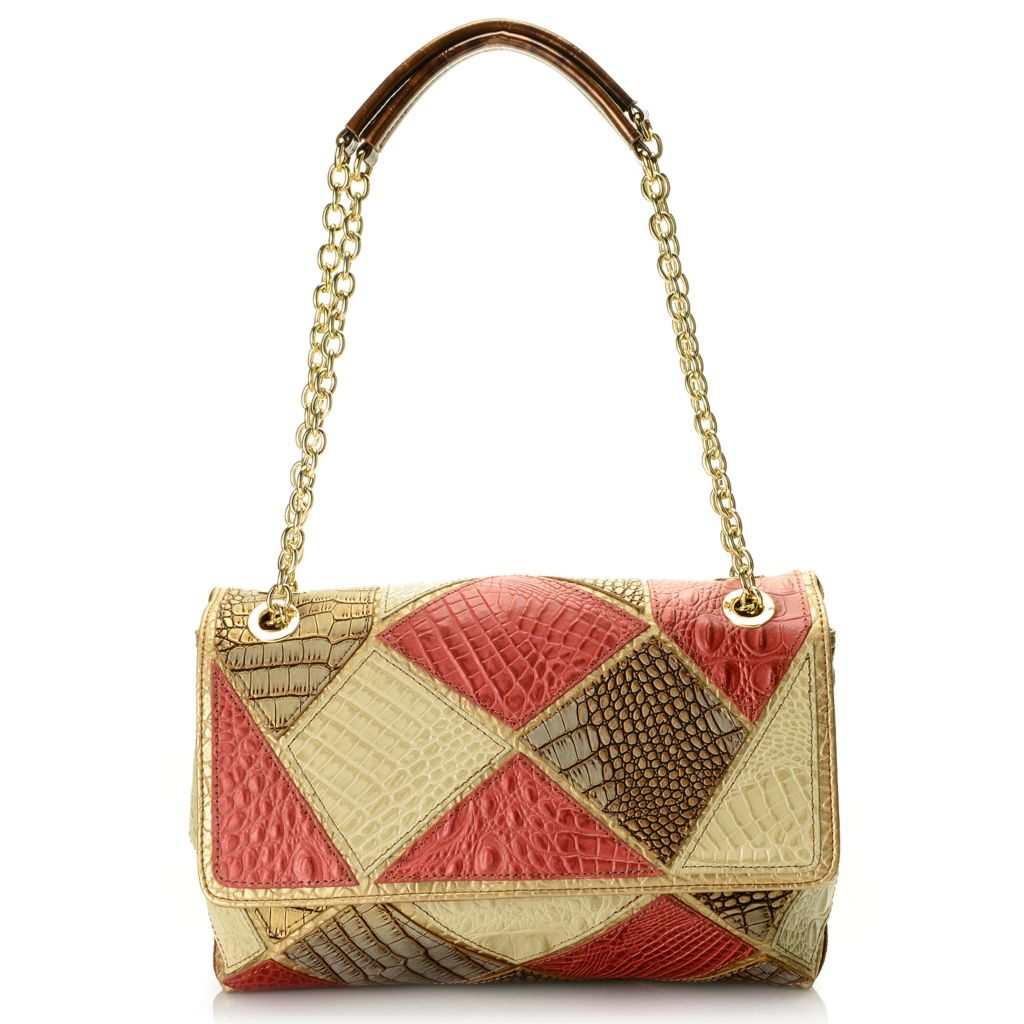 720-205 - Madi Claire Croco Embossed Leather Patchwork & Chain Detailed Shoulder Bag