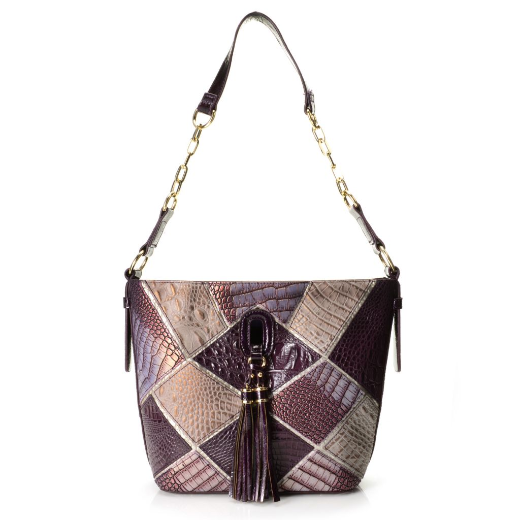 720-206 - Madi Claire Croco Embossed Leather Patchwork Chain Detailed Shoulder Bag