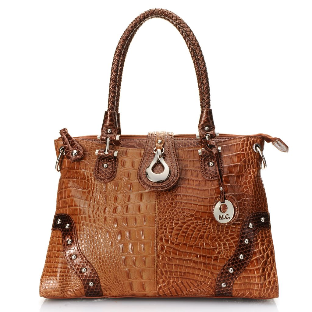 720-207 - Madi Claire Croco & Snake Embossed Leather Double Woven Handle Tote Bag w/ Strap