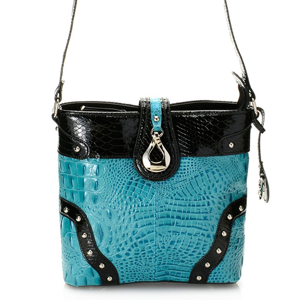720-208 - Madi Claire Croco & Snake Embossed Leather Zip Top Stud Detailed Cross Body Bag