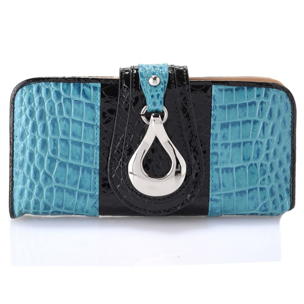 720-210 - Madi Claire Croco & Snake Embossed Leather Flap-over Wallet