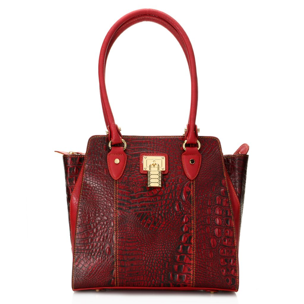 720-211 - Madi Claire Croco Embossed Leather Zip Top Double Handle Lock Detail Tote