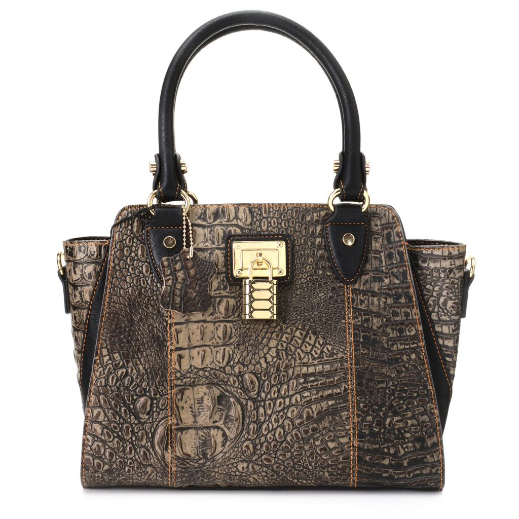 720-212 - Madi Claire Croco Embossed Leather Double Handle Lock Detail Satchel w/ Strap