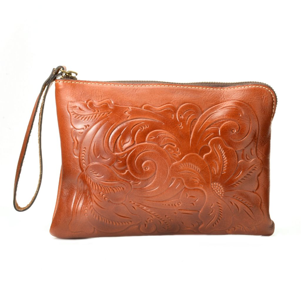 720-261 - Patricia Nash Tooled Leather Zip Top Wristlet
