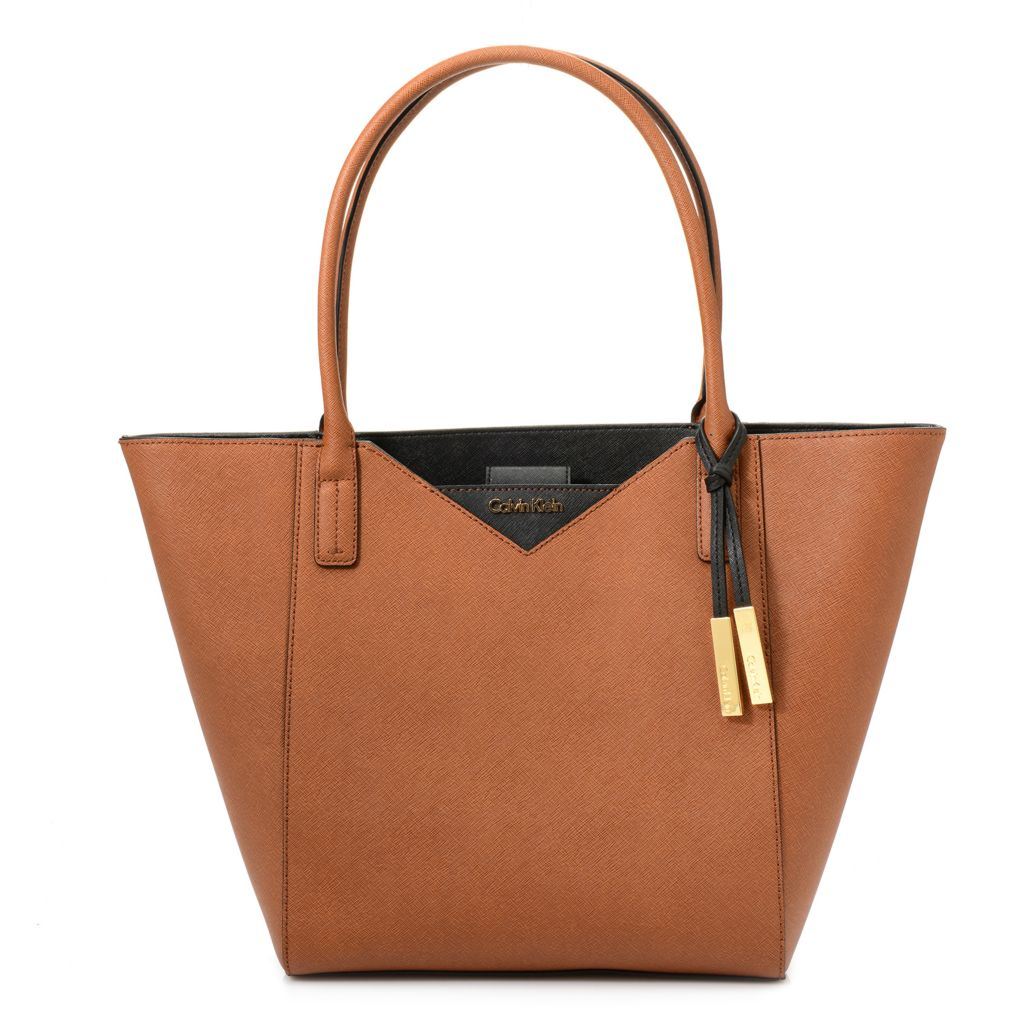 720-390 - Calvin Klein Handbags Saffiano Leather Tapered Tote