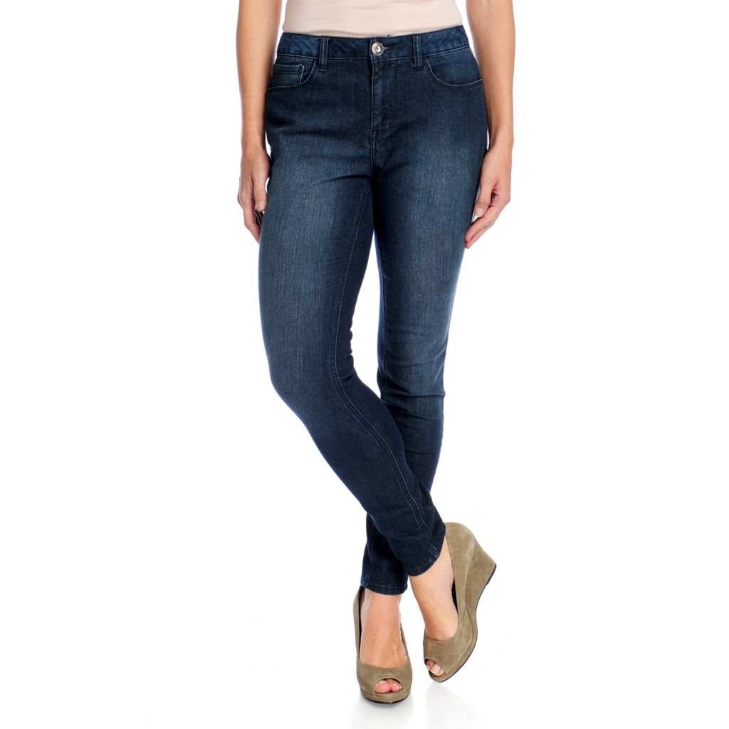 720-402 - Kate & Mallory Stretch Denim Five-Pocket Faux Leather Tuxedo Jeans