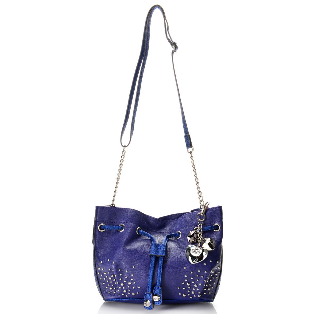 720-413 - Kathy Van Zeeland Adjustable Strap Drawstring, Stud & Chain Detailed Cross Body Bag