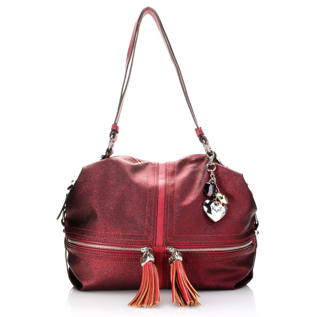 720-414 - Kathy Van Zeeland Double Handle Metallic & Tassel Detailed Zip Around Satchel