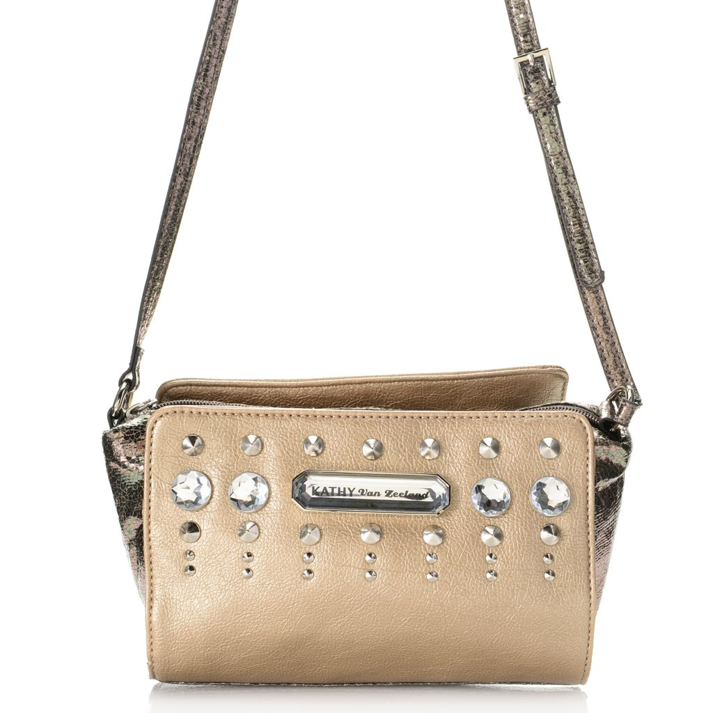 720-415 - Kathy Van Zeeland Adjustable Strap Cone Studded & Metallic Detailed Cross Body Bag