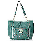 720-460 - Kathy Van Zeeland Chain Detailed Double Handle Studded Shopper Handbag