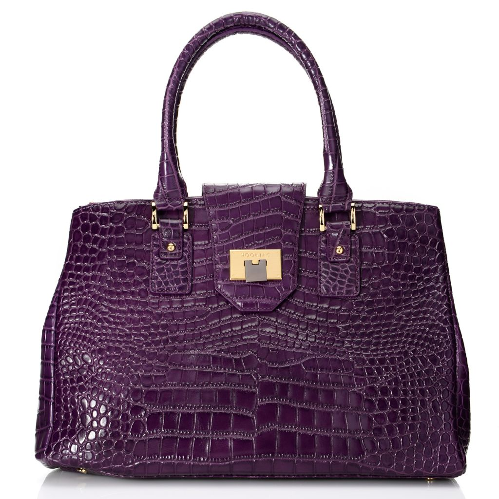 720-618 - Kookjac Hand-Embossed Caiman Leather Double Handle Flap-over Satchel w/ Shoulder Strap