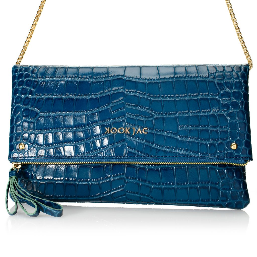 720-619 - KookJac Hand-Embossed Caiman Leather Clutch w/ Shoulder Chain