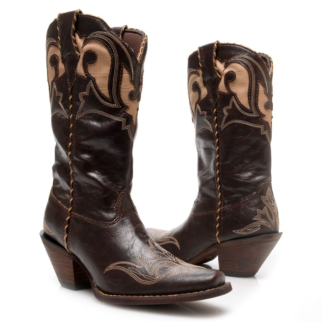720-701 - Durango Leather Embroidered Western-Style Mid-Calf Boots