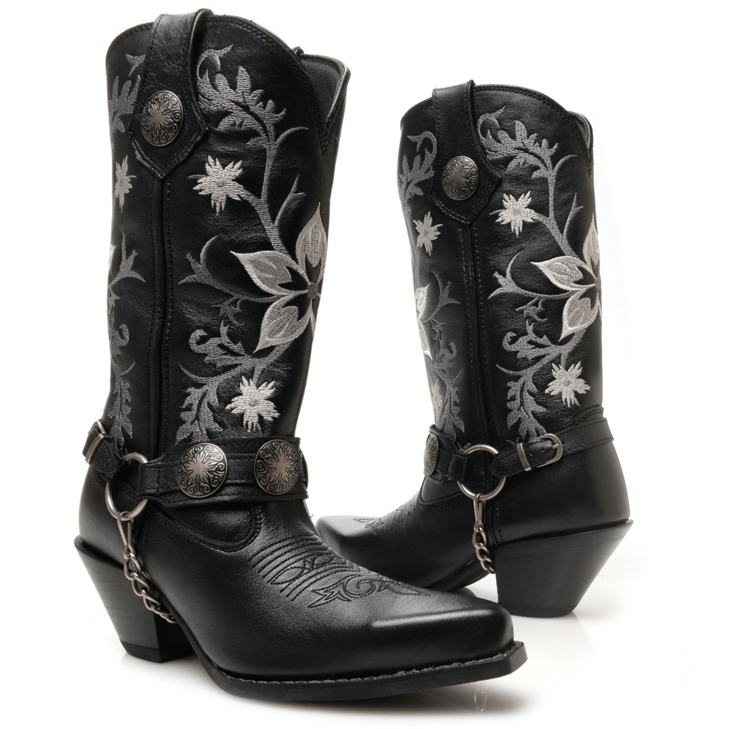 720-702 - Durango Leather Embroidered & Harness Detailed Mid-Calf Boots