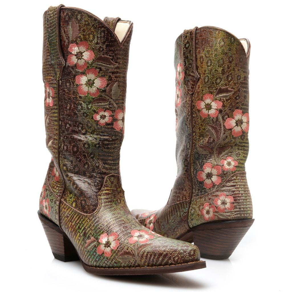 720-703 - Durango Leather Embroidered Western-Style Mid-Calf Boots