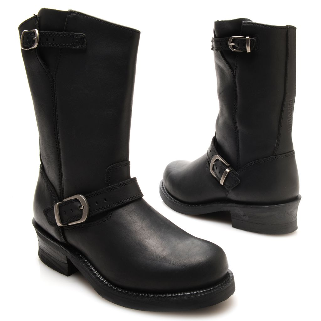 720-708 - Durango Leather Buckle Detailed Engineer-Inspired Mid-Calf Boots