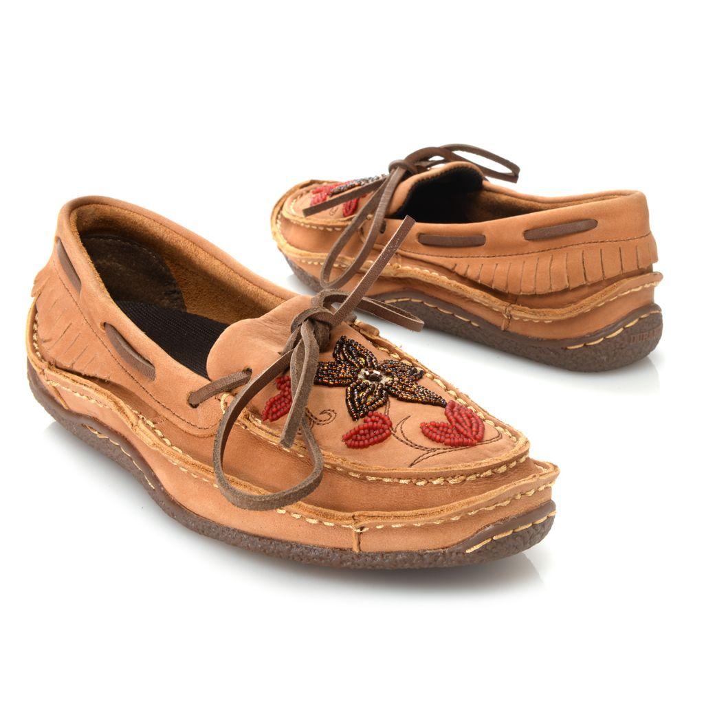720-709 - Durango Leather Bead & Fringe Detailed Slip-on Moccasins