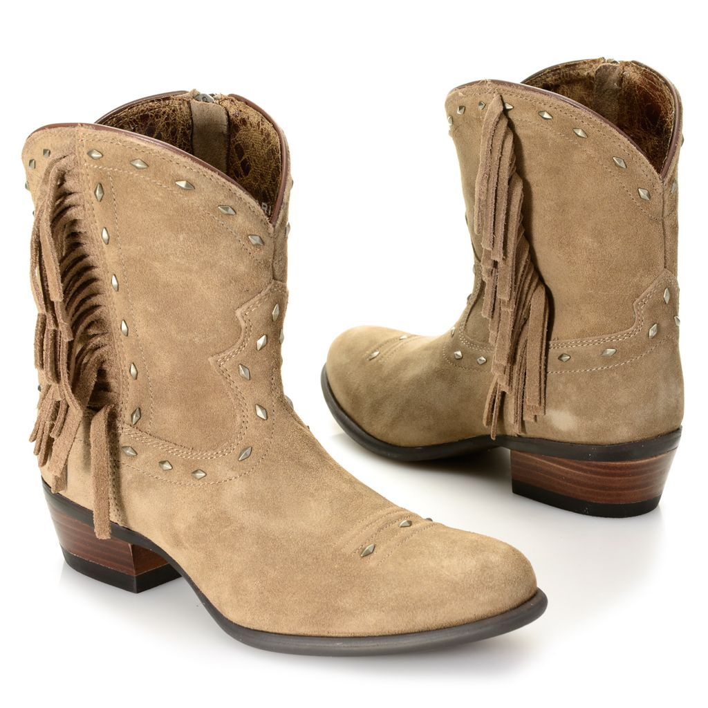720-719 - Ariat® Sueded Leather Stud & Fringe Detailed Side-Zip Ankle Boots