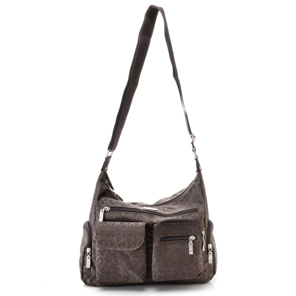 720-778 - Baggallini® Nylon Woven Multi Pocket Zip Top Cross Body Travel Bag
