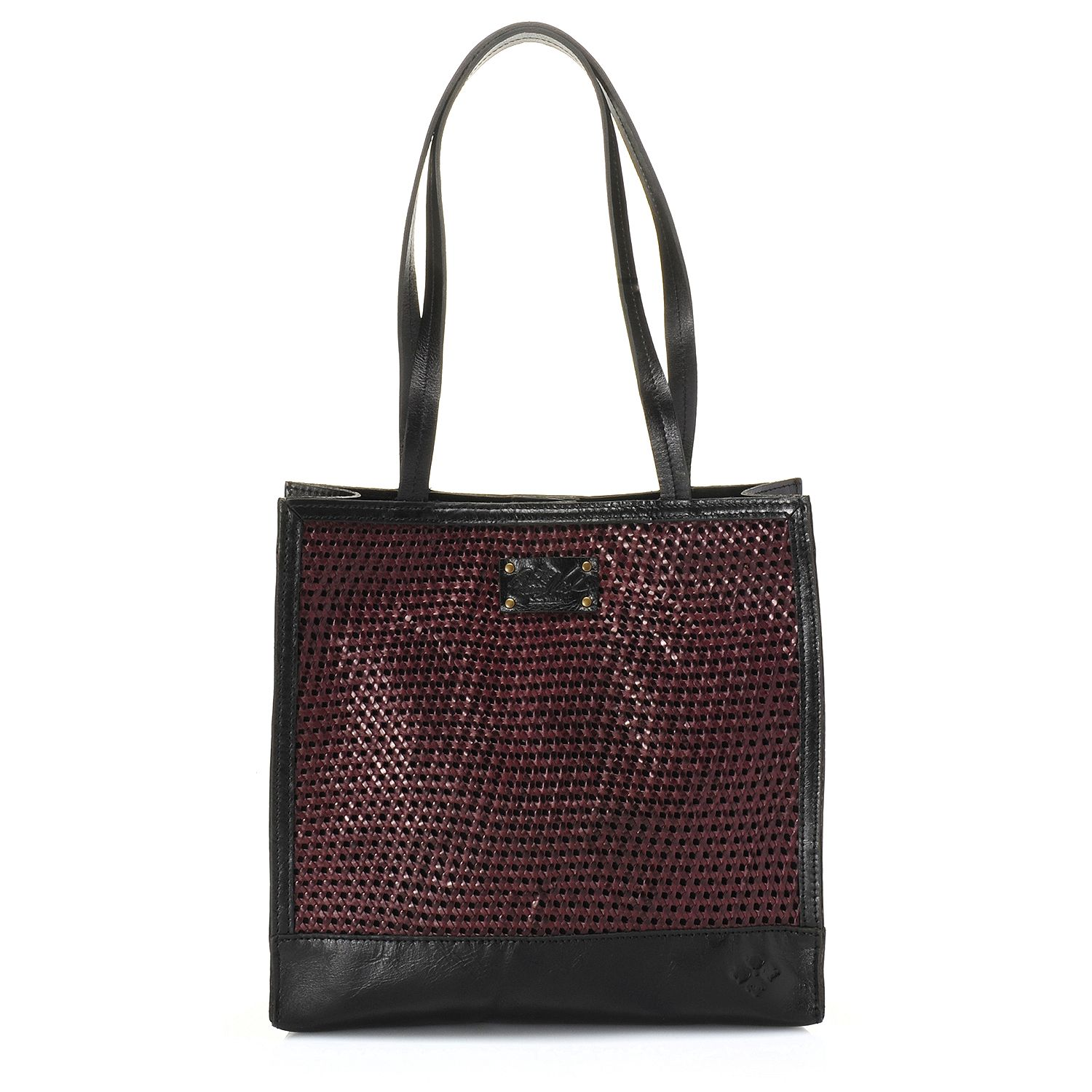 "720-812- Patricia Nash ""Toscano"" Smooth Leather Double Handle Woven Tote Bag"