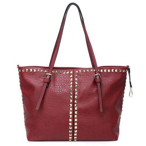 720-868 - SWG Studded Double Handle Zip Top Tote Bag