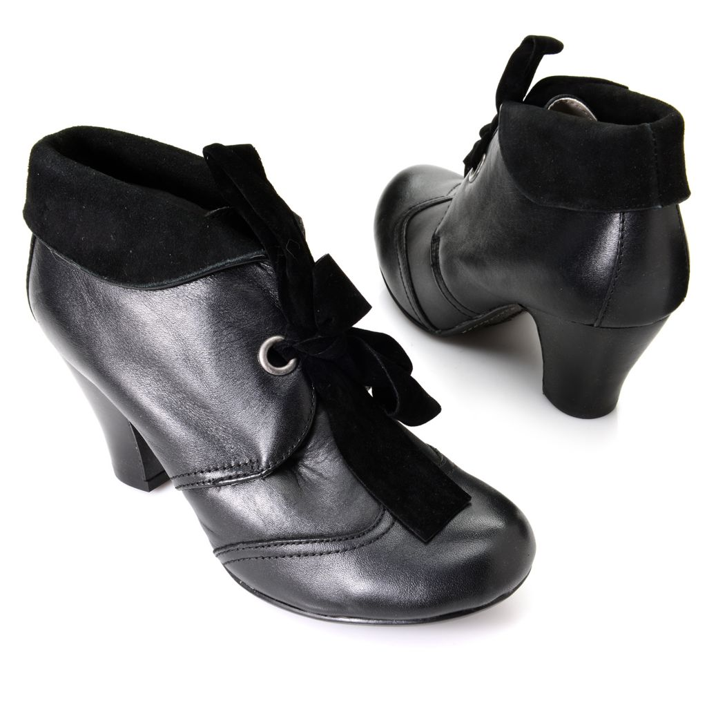 720-901 - Hush Puppies Leather Ribbon Lace-up High Heel Ankle Boots