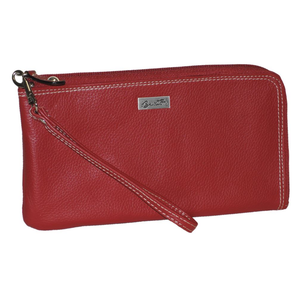 720-911 - Buxton Milled Leather Expandable Zip Around Wallet w/ Removable Wrist Strap