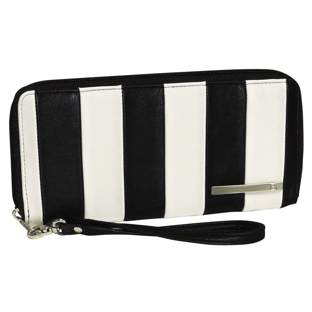 720-913 - Buxton Pebble Finished Zip Around Wallet w/ Removable Wrist Strap