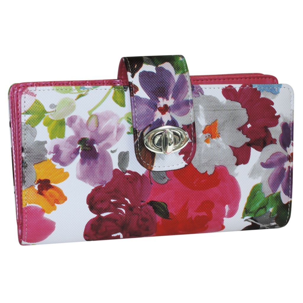 720-915 - Buxton Floral Print Flap-over Belt Turn Lock Organizer Wallet