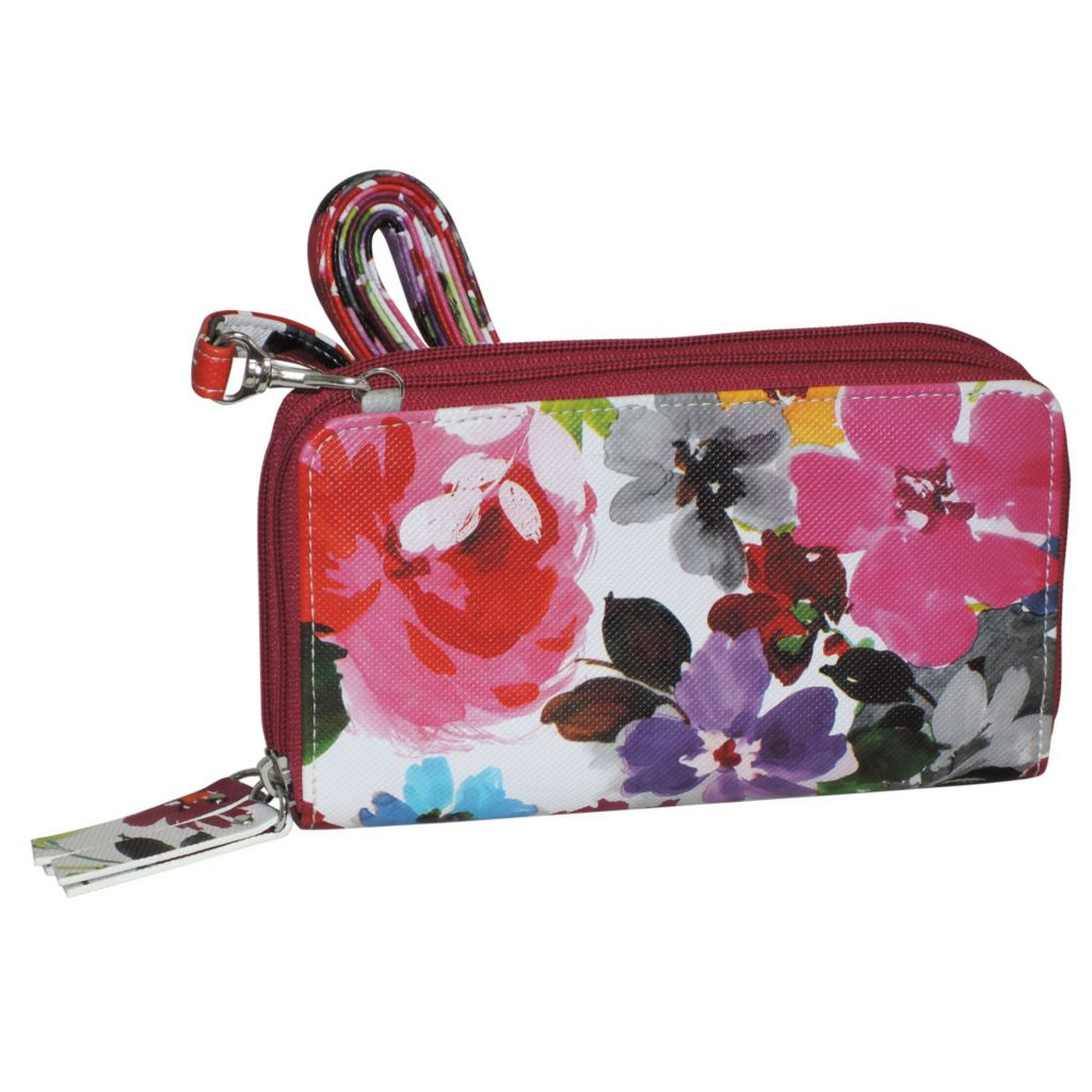 720-916 - Buxton Floral Print Zip Around Double Compartment Wallet w/ Removable Strap