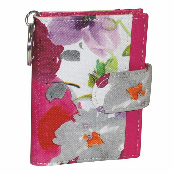 720-920 - Buxton Floral Printed Flap-over Tab Card Organizer Wallet