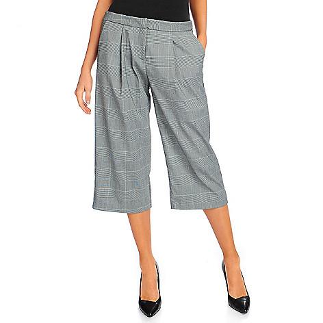 720-962- Kate & Mallory® Woven Zipper Front Wide-Leg Boot Split Skirt