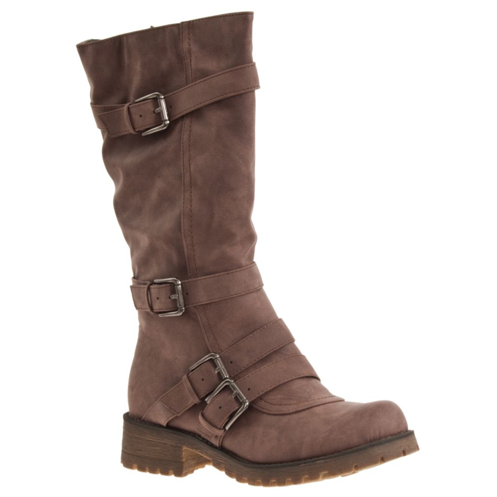 721-061 - Riverberry Combat-Style Rugged Sole Buckle Detailed Fashion Boots