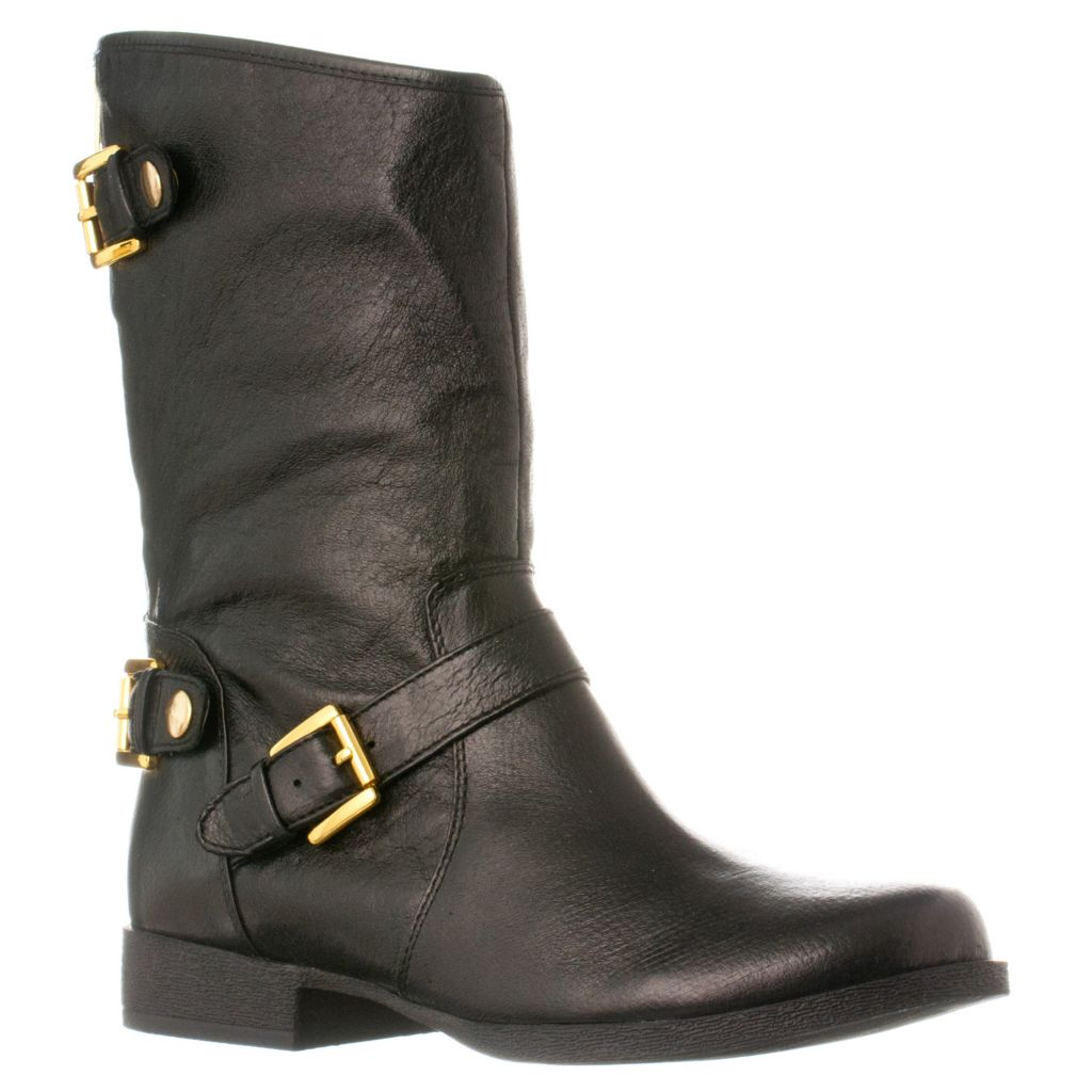 721-065 - Steve Madden Women's Enngage Leather Buckle Detail Boots
