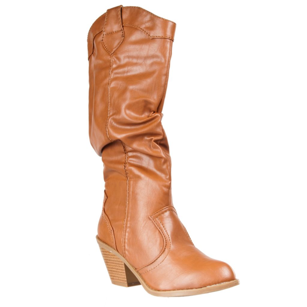 721-071 - Riverberry Women's Latisha Faux Leather Crinkle Texture Western-Style Boots