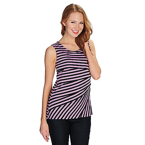 721-114- Kate & Mallory® Stretch Knit Sleeveless Starburst Tiered Striped Top