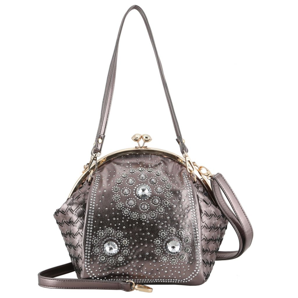 721-137 - SWG Woven Detailed Studded Kiss Lock Shoulder Bag w/ Strap