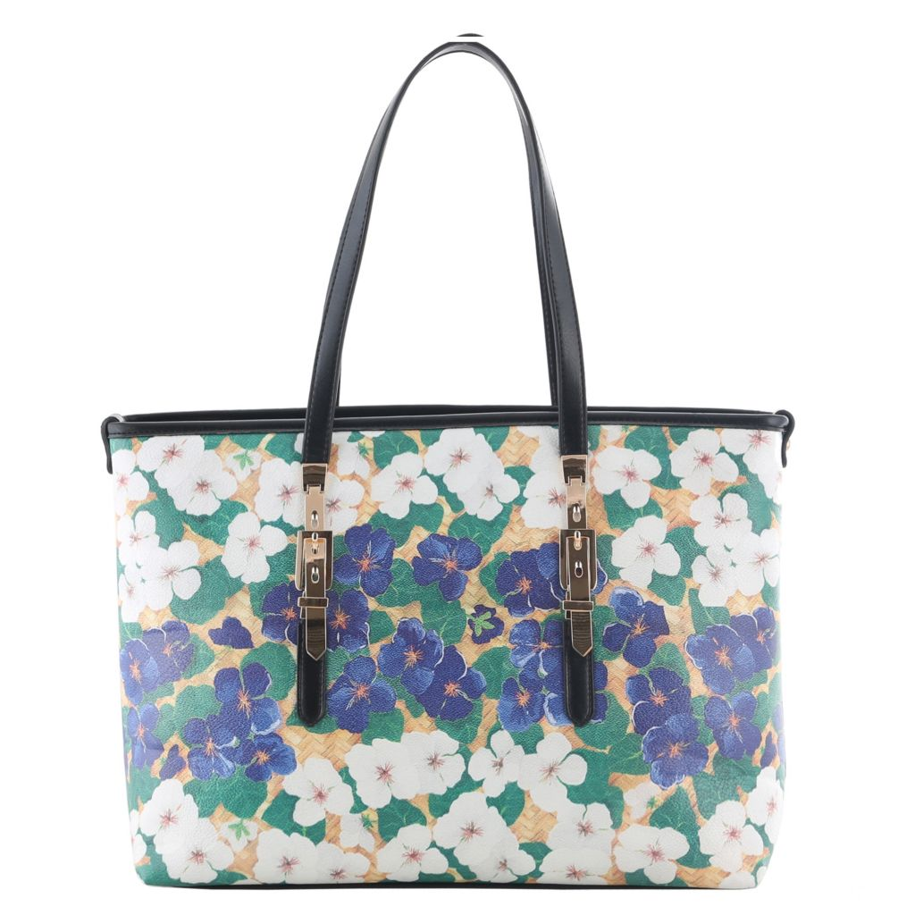 721-138 - SWG Double Handle Floral Printed Buckle Detailed Tote Bag