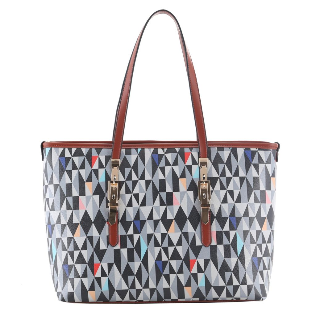 721-139 - SWG Double Handle Geometric Printed Buckle Detailed Tote Bag
