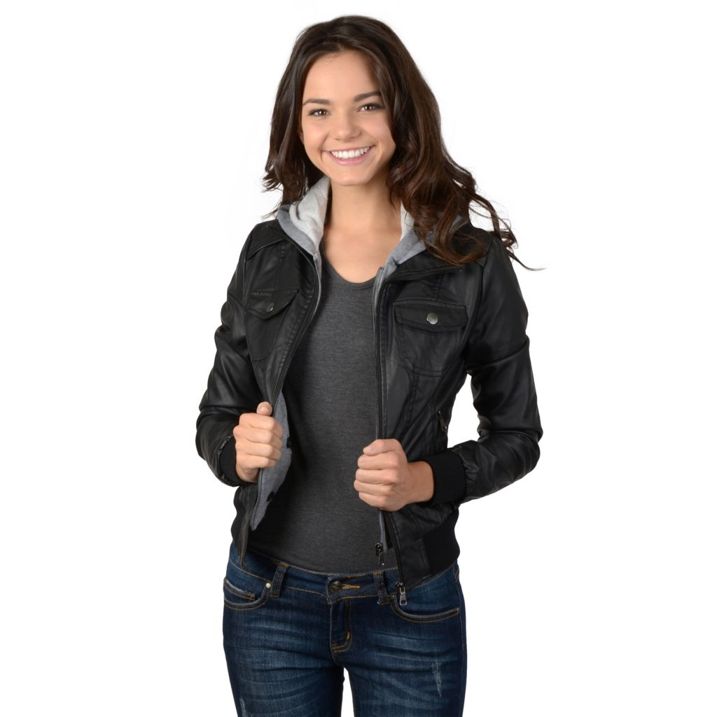 721-363 - Hailey Jeans Co. Junior's Faux Leather Hooded Zipper Jacket