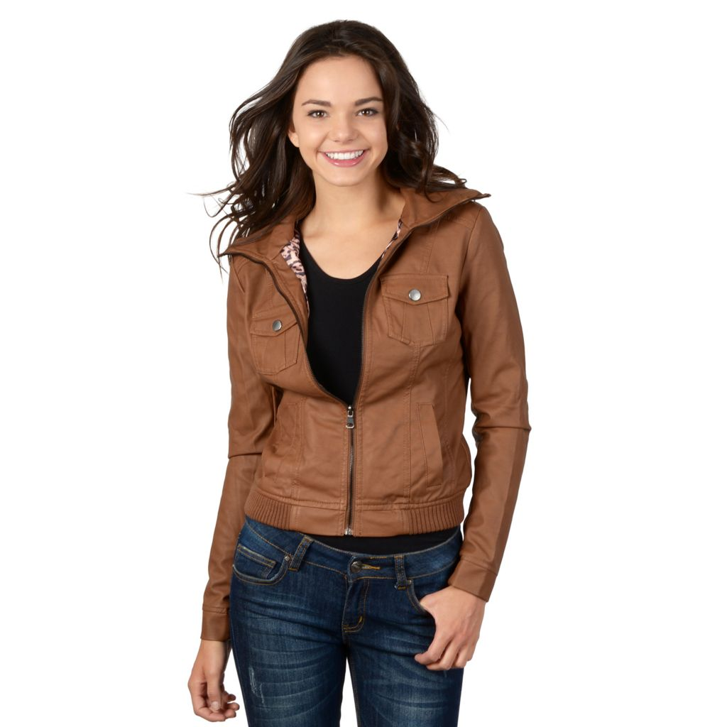 721-365 - Hailey Jeans Co. Junior's Faux Leather Zipper Front Ribbed Trim Jacket
