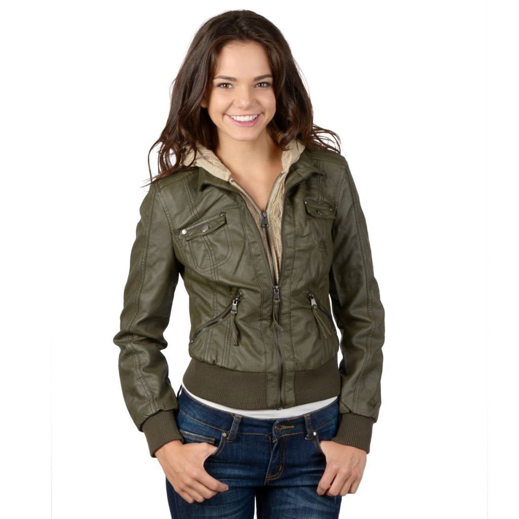 721-366 - Hailey Jeans Co. Junior's Faux Leather Cable Knit Hooded Jacket