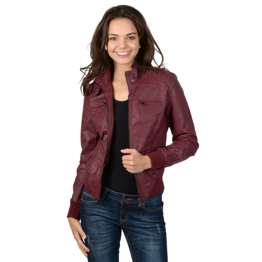 721-367 - Hailey Jeans Co. Junior's Faux Leather Hooded Zipper Detailed Jacket