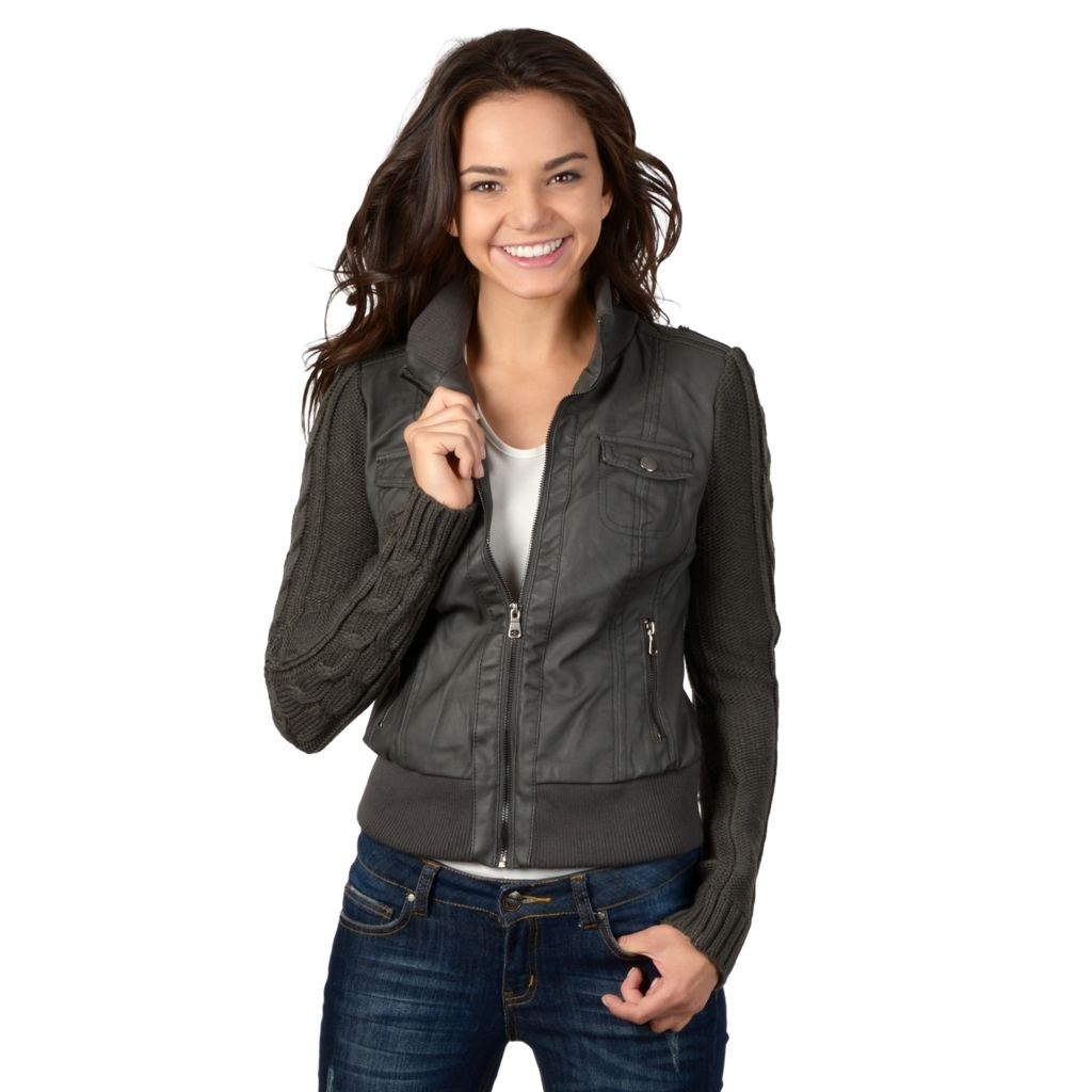 721-368 - Hailey Jeans Co. Junior's Faux Leather Sweater Knit Sleeved Jacket
