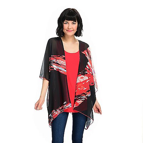 Kate & Mallory® Printed Woven Kimono Sleeve Sheer Cardigan ...