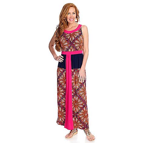 One World Printed Knit Sleeveless Scoop Neck Maxi Dress
