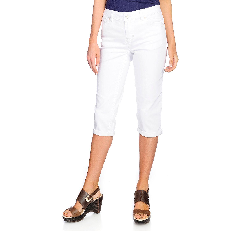 722-867- Indigo Thread Co.™ Woven Denim Five-Pocket Cuffed Slim Leg Capri Pants