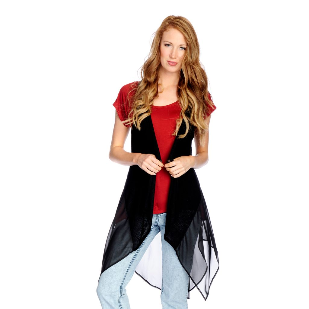 722-969- Indigo Thread Co.™ Woven Knit Combo Sleeveless Open Front Lace Detail Duster