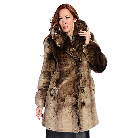 724-717- Pamela McCoy Black Diamond Tissavel Faux Fur Oversized Collar Hook Front Jacket
